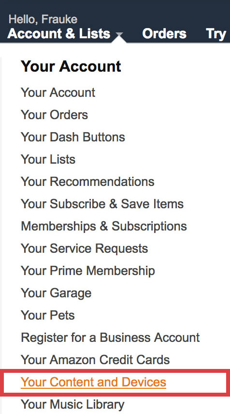 Amazon Account: Your Content and Devices