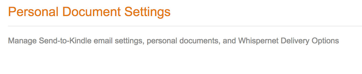 Personal Document Settings